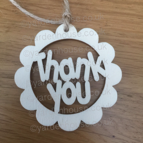 Thank you flower shape gift tag, 7cm x 7cm (3mm light ply) **Pack of 5**